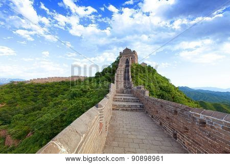 great wall with blue sky