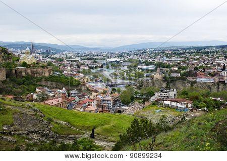 TBILISI, GEORGIA - MAY 01, 2015: Panoramic view of Tbilisi