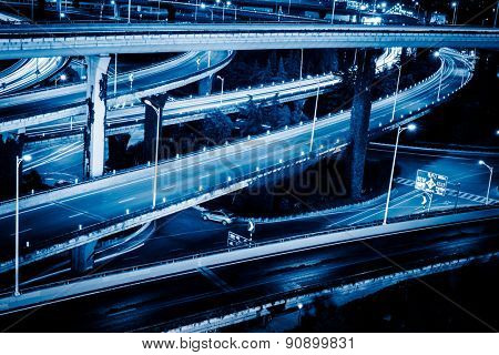 aerial view the overpass at night, shanghai china.