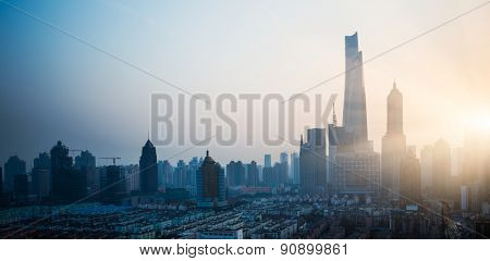 sunrise of city,  shanghai china.