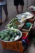 foto of stall  - Mango Selling on the Stall in the market - JPG