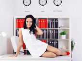 pic of provocative  - sexy provocative businesswoman at office on table - JPG