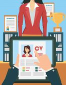stock photo of recruiting  - Job recruitment concept with business cv resume - JPG