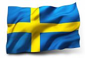 picture of sweden flag  - Waving flag of Sweden isolated on white background - JPG