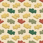 stock photo of jigsaw  - Seamless pattern with the jigsaw puzzle pieces - JPG