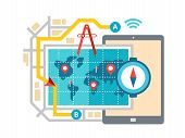 image of gps navigation  - GPS map navigation and routing concept flat vector illustration - JPG