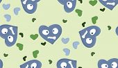 picture of heartbreaking  - Repeating pattern of heartbroken heart symbols over green - JPG
