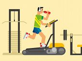 picture of treadmill  - Athlete running on a treadmill concept flat vetor illustration - JPG