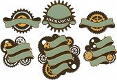 image of steampunk  - set of ribbons and banners decorated in the style of steampunk gears on a white background - JPG