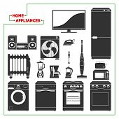 image of monochromatic  - Scaled monochromatic home appliances vectorial illustration - JPG