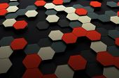 image of fi  - Abstract 3d rendering of futuristic surface with hexagons - JPG