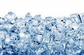 picture of crystal clear  - Ice cubes isolated on white background - JPG