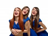 foto of triplets  - beautiful sexy women Triplets smiling and laughing on white  - JPG