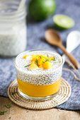 pic of mango  - Chia in homemade soy milk with mango puree and mango chunk - JPG