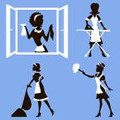 pic of window washing  - Vector illustration of a girl who cleans dust - JPG