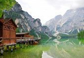 foto of lagos  - Boathouse at the Lago di Braies in Dolomiti Mountains  - JPG