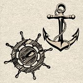 picture of ship steering wheel  - Doodle style ships anchor and wheel illustration in vector format - JPG