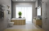 Interior of the modern design bathroom 3D rendering  poster