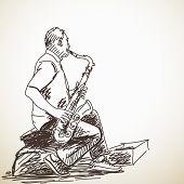image of saxophones  - Sketch of Man Saxophone street musician Hand drawn illustration - JPG