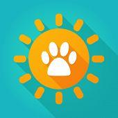foto of animal footprint  - Illustration of a sun icon with an animal footprint - JPG