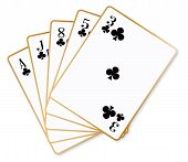 picture of poker hand  - A poker hand flush over a white background - JPG