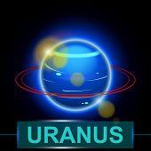 stock photo of uranus  - illustration of planet uranus with rings on dark background with shine - JPG