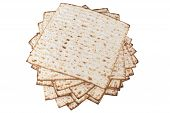 image of matzah  - Matzot for pesach pile isolated on white background - JPG