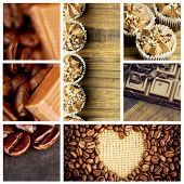 stock photo of cocoa beans  - Chocolate pieces and coffee beans side by side against heart indent in coffee beans - JPG