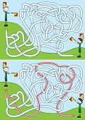 stock photo of boy scouts  - Boy scouts maze for kids with a solution - JPG