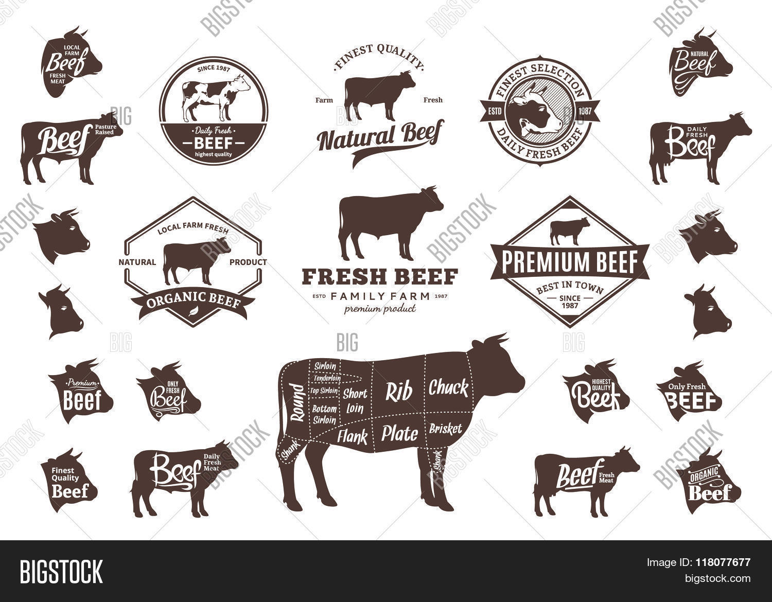 vector beef logo icons charts and design elements stock vector stock photos bigstock. Black Bedroom Furniture Sets. Home Design Ideas