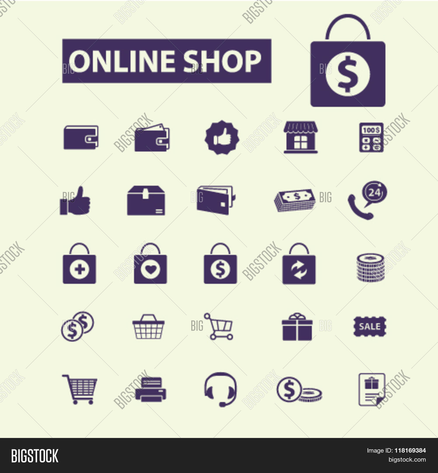 Online shop icons shopping signs vector photo bigstock for Online store for shopping