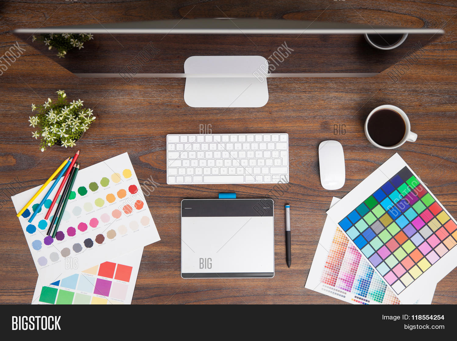 Designer Desk From Above Stock Photo & Stock Images | Bigstock