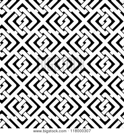 Black and white abstract textured geometric seamless pattern. Symmetric monochrome vector textile backdrop. Intertwine rhombs.