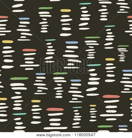 Retro style seamless pattern with stylized piles of pebbles