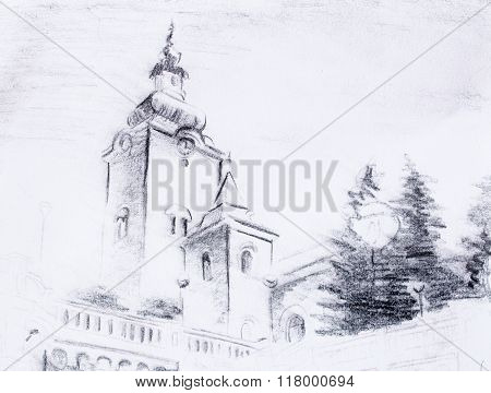 pencil sketch church, drawing on vintage paper.