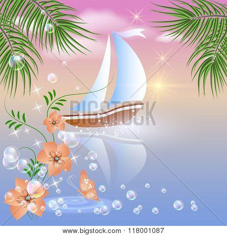 Sailboat Floats On The Sea