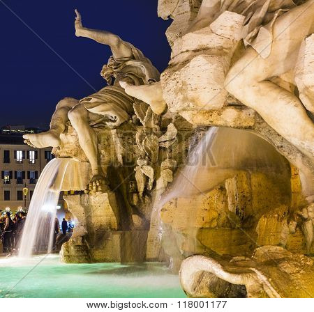 Rome - Piazza Navona And Fontana Dei Fiumi By Bernini At Night
