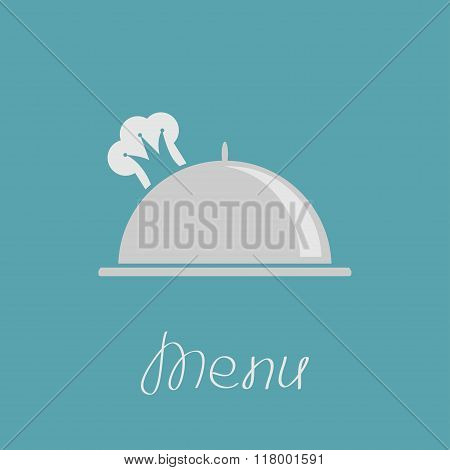 Silver Platter Cloche And Chef Hat In Shape Of Crown. Menu Cover