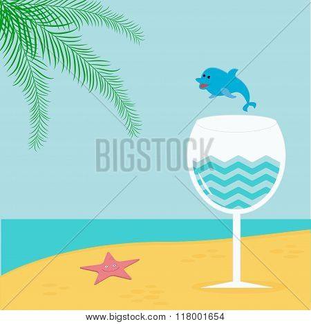Summer Beach Background With Palm, Star, Cocktail And Dolphin.
