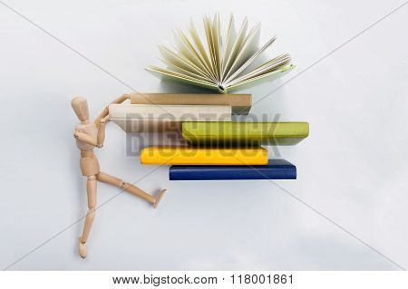 Stack of hadrback books. Library education concept. Back to school. Copy space