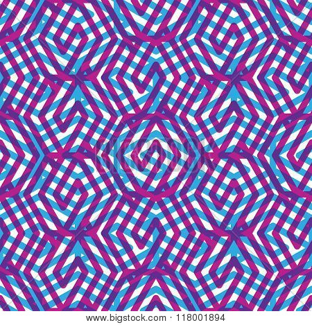 Geometric messy lined seamless pattern colorful vector endless background. Decorative net splicing motif texture.