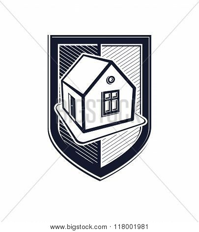 Home Insurance Vector Conceptual Icon, Protection Shield With Simple House. Design Element, Construc