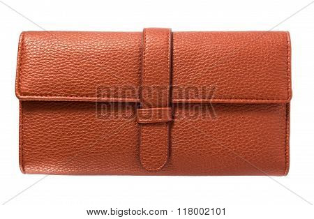 Business card in wallet isolated on white background