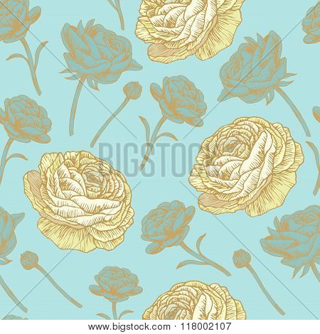 Vector floral seamless pattern with persian buttercup