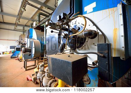 Large Industrial Boiler Room With Equipment