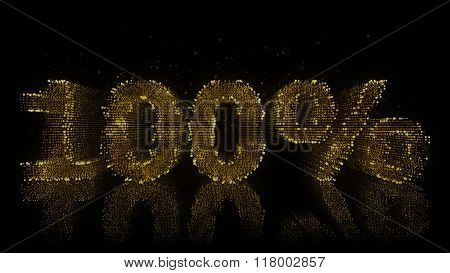 100% Sign Made Of Glowing Particles On Reflective Surface.