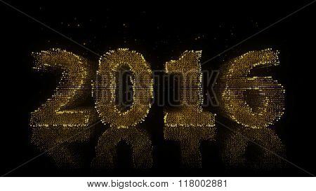 2016 Year Sign Made Of Glowing Particles On Reflective Surface.