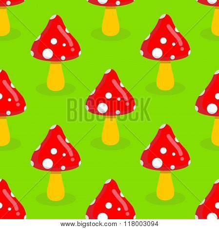 Amanita Seamless Pattern. Red Mushroom With White Spots. Toxic Poisonous Mushroom Ornament.