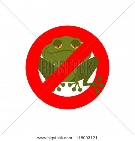 Stop Frog. Red Forbidding Sign For Green Amphibian. Sign Ban For Toads And Frogs.
