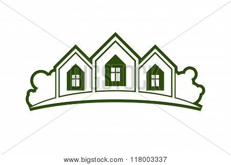 Abstract Vector Illustration Of Country Houses With Horizon Line. Simple Buildings On Nature Backgro